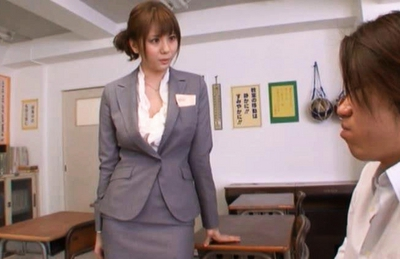 Yuma Asami Hot Asian doll is a naughty Asian teacher in the class room