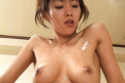 Sakura Saturada Asian doll in bukkake gets shaved pussy licked