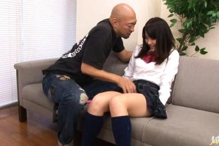 Kanna Harumi Asian schoolgirl shows off her hairy beaver