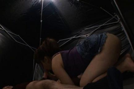 Nozomi Mitani Japanese model enjoys sucking her friends huge cock