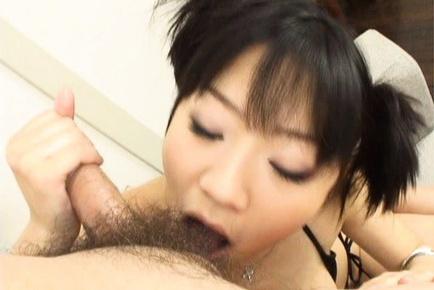 Saya Misaki Asian doll sucks huge cock