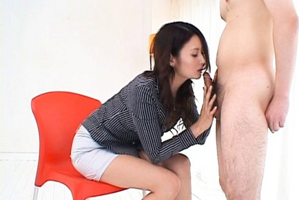 Risa Asian model gives a sensual blowjob to her horny guy