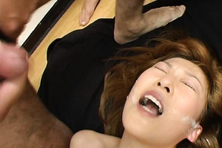 Cute innocent looking Aya Sakaki takes four cocks at the same time.