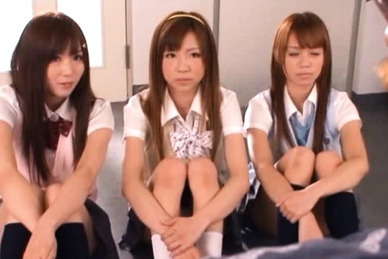 A kinky group fuck scene starring 3 horny japanese school babes.