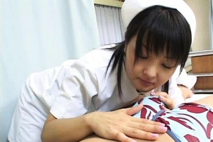 Wild Nurse Miku Hoshino makes a hot double blowjob and takes cum.