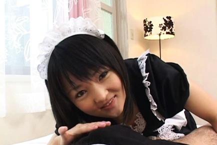 Sexy maid Miku Hoshino hardcore action