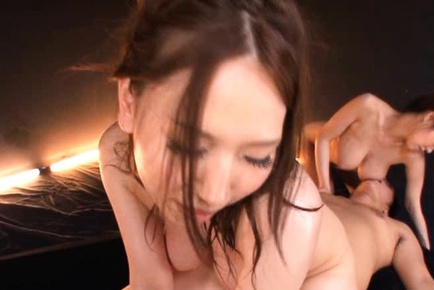 Busty Japanese babes Sayuki Kanno and Ai Sayama in hardcore mff action