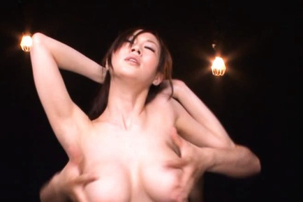 Busty and nasty Asian es flaunting and tit sucked