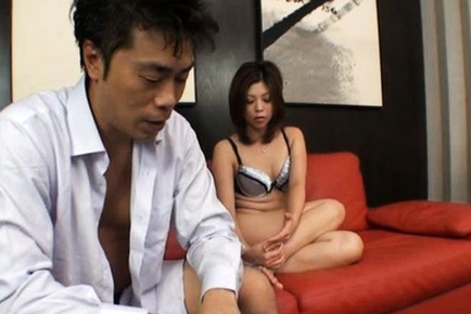 Horny Japanese babe with fine and soft boobies flaunting her hairy cunt for a fuck