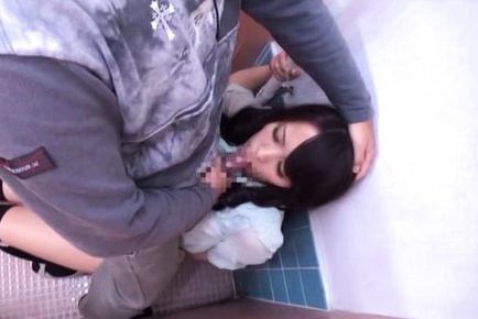 Japanese AV Model gets a cock to suck in the toilet