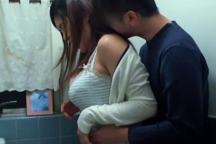 Japanese AV model milf in toilet enjoying some hardcore sex