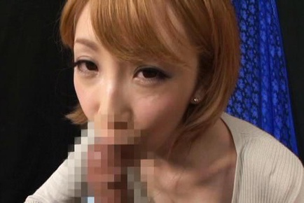 MILF Aya Kisaki in fishnets sucks him off in a POV video