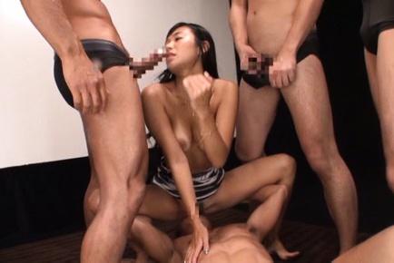 Wild gang group action with Nana Ogura looks so hot