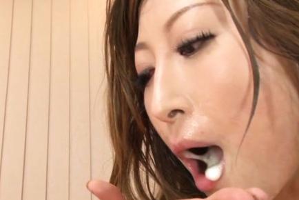 Cute Asian redhea Reira Aisaki enjoys outstanding anal sex and eats cum