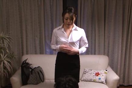 Talented office chick Kyoko Nakajima makes anal stimulation show