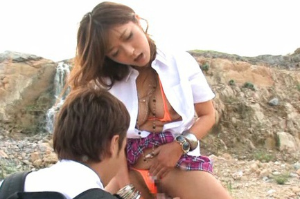 Busty Satou Haruka performs cock sucking