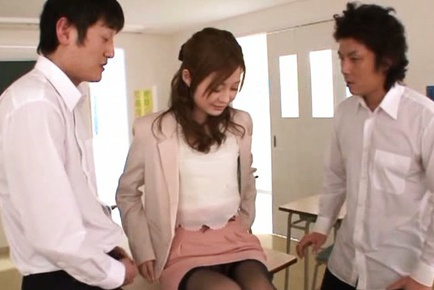 Innocent looking teacher Rina Ishihara in threesome sex