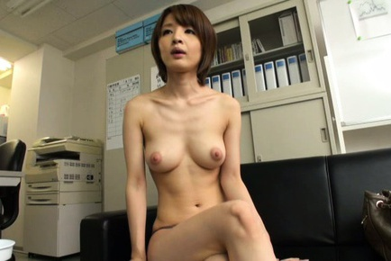 Arousing short-haired Asian model Yukina enjoys threesome