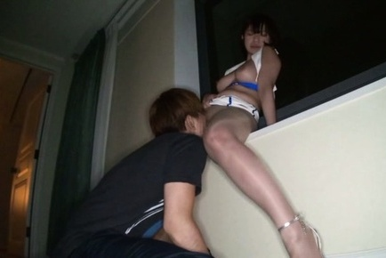 Gorgeous Japanese race queen Wakaba Onoue gives head rides boner