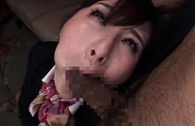 Sexy stewardess Tatsumi Yui gets her hairy pussy fucked hard