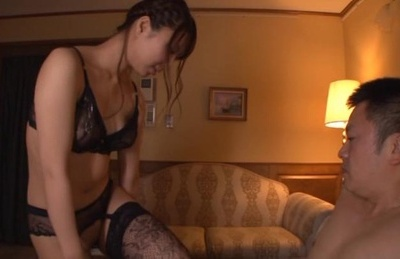 Skillful Asian milf in sexy lingerie Mikan Kururugi gives a mouth job