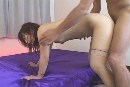 Beautiful Asian lady in sexy stockings Honoka Aoi sucks cock