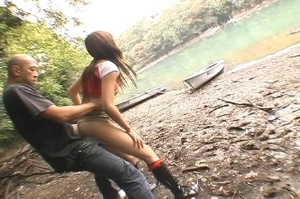 Erika Satoh Asian doll gets her pussy fucked hard outdoors