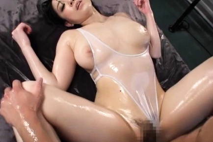 Stunning milf with oiled body Sena Minami sucks and swallows