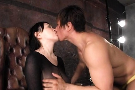 Busty Asian milf in black lingerie Sena Minami pounded really hard