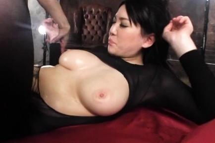 Busty Asian milf in black lingerie Sena Minami pounded really hard