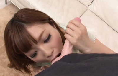 Rina Kato blows toy cock and swallows fake jizz