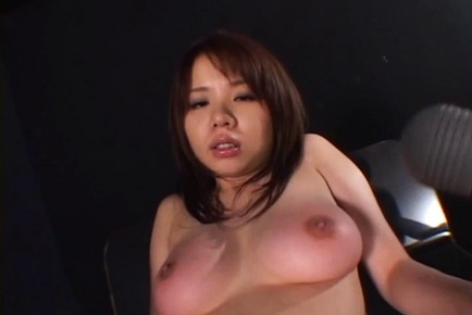 Busty Japanese hottie gets her big tits measured and moistened