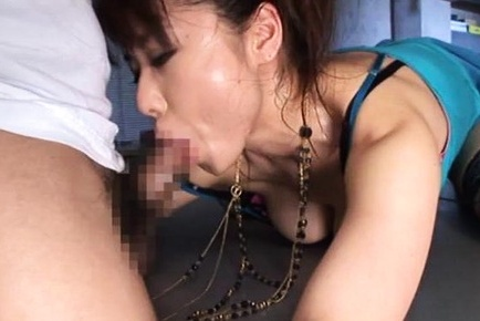 Asian milf starts sucking and fucking with her boss