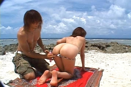 Asami Ogawa Asian doll has sex on the beach