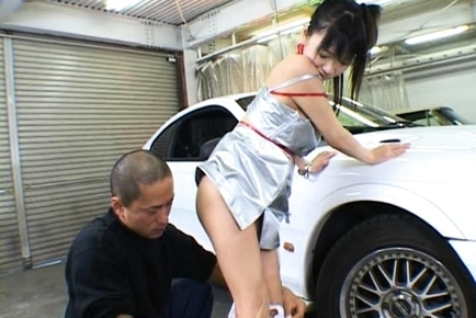 White Panty Clad Racing Queen Kisses a White Car while Her Pussy is Filled